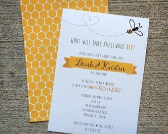 5x7 What Will Baby Bee? Gender Reveal Announcement Invitation Boy or Girl?