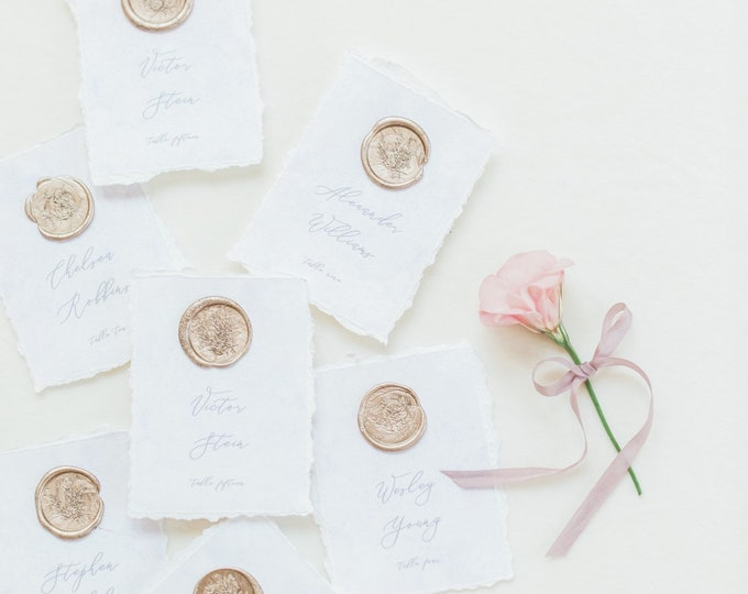 Lavender & Blush Watercolor Wedding Escort Cards Cards with Ripped Edges, Delicate Calligraphy Script and Wax Seal with Guest Names