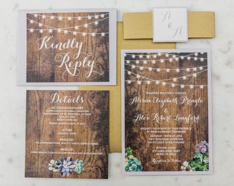 Rustic Country Wood String Lights Succulents Layered Wedding Invitation in Purple with Enclosure Band/Monogram - Multiple Color Options!