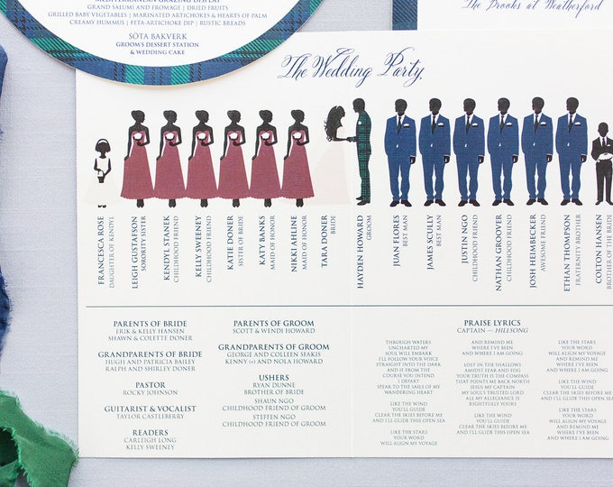 5.5x8.5 Bi-Fold Folding Wedding Ceremonh Bridal Party Program with Illustrated Wedding Party — Customizable with Your Colors!