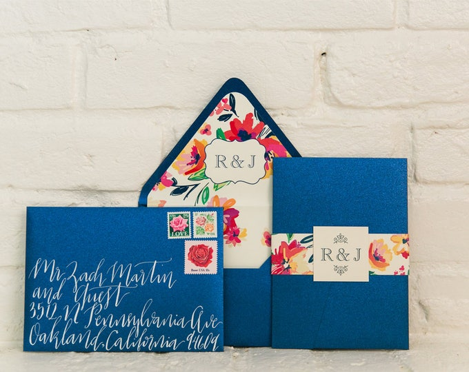Summer Pocket Folder Wedding Invitation in Navy and with Coral & Pink Florals with Envelope Liner, Belly Band and Monogram with Inserts