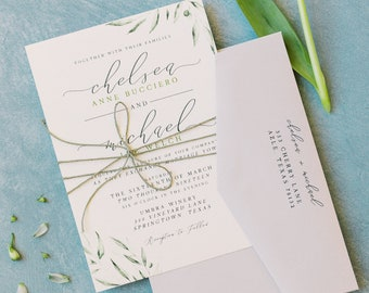 Modern Wedding Invitation with Water Color Greenery in Green and Grey with Calligraphy, and Envelope Addressing - Other Colors