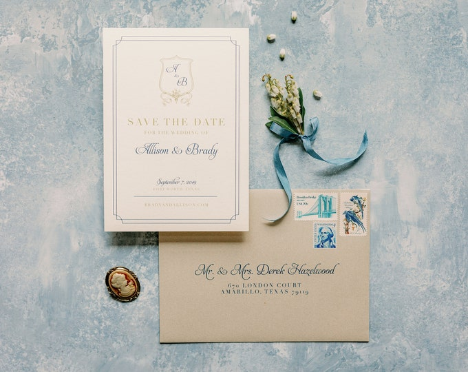 Classic & Traditional Wedding Save the Date with Monogram Crest in Navy Blue and Gold with Envelope and Guest Addressing —Other Colors!