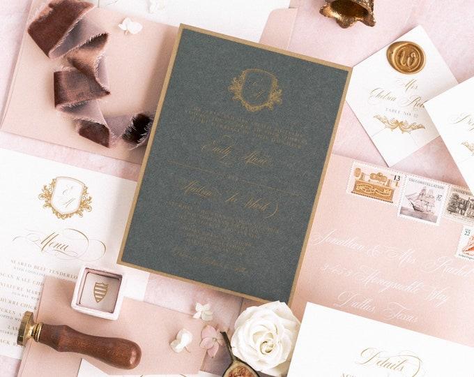 Modern Elegance Formal Charcoal Gray, Gold and Pink Blush Layered Monogram Crest Wedding Invitation, Envelope Liner & Inserts — Other Colors