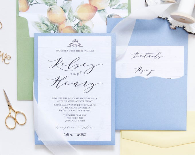 Light Blue Pocket Wedding Invitation in Green & Yellow with White Wood and Lemons Includes Envelope Liner Different Colors Available!