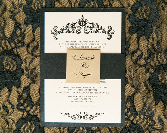 Gold & Black Elegant Damask Wedding Invitation with Envelope Liner, RSVP, Details and Enclosure Band - Multiple Color Options Available!