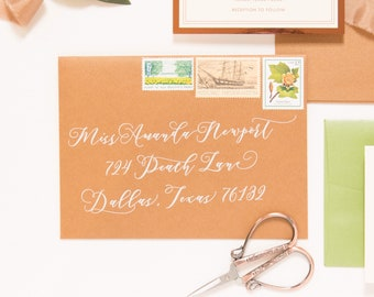 5x7, 3.5x5, 4x5, 6x6, 4x9 or 6x9 Size ENVELOPES INCLUDED Recipient Wedding Guest Address Envelope Printing Calligraphy, Multiple Colors