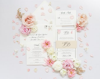 Timeless Black Letterpress Wedding Invitation with Modern, Formal Design in Ivory with Details Insert & Gold Monogram Band (Other Colors)