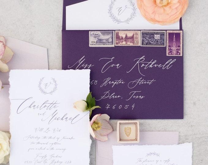 Deckled Torn Edges Purple & Lavender Calligraphy Greenery Wreath Monogram Wedding Invitation — Envelope Liner, RSVP and Address Printing
