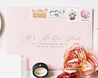 Water Color Brush Wedding Calligraphy Address Envelope Printing, 5x7 (Other Sizes & Colors Available) Navy and White, ENVELOPES INCLUDED