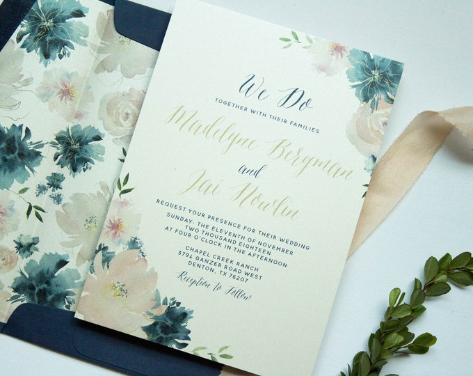 Boho Floral Water Color Calligraphy Wedding Invitation in Blush Pink and Navy Blue with Postcard RSVP and Envelope Liner - Other Colors