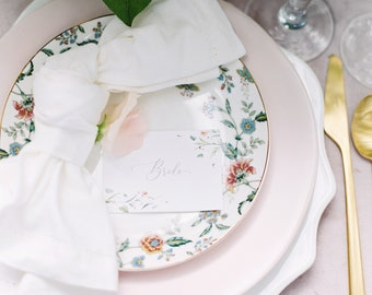 Floral Blush Pink Flowers and Greenery Wedding Place Cards Escort Cards with Printed Guest Names with Table Number Option
