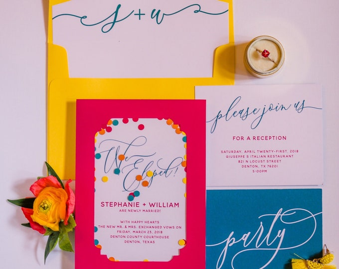 Brightly Colored Elopement Wedding Invitation with Neon Colors and Confetti in Hot Pink, Yellow, Teal & Orange - Different Colors Available!
