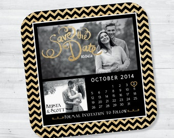 5x5 Black and Gold Glitter Save the Date Magnet— Glamorous Chevron