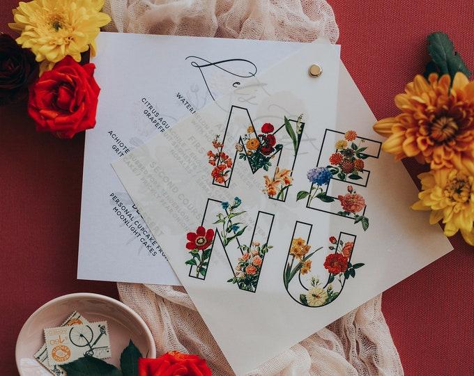 Vellum Overlay Menu Bound with Eyelet Featuring Bright Summer Florals in Red, Blue, Orange & Yellow
