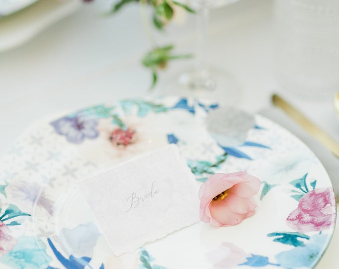 Lavender & Blush Watercolor Place Cards Escort Cards Cards with Ripped Edges, Delicate Calligraphy Script with Guest Names