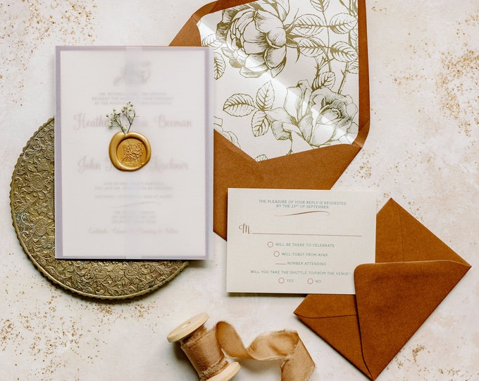Vellum Wrapped Enclosed Wedding Invitation with Baby's Breath in Gold Wax Seal in Sepia and Terra-Cotta with Vintage Florals - Other Colors!