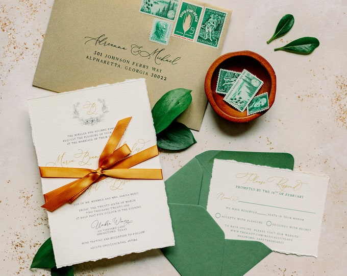 Line Drawn Floral Wreath Wedding Invitation with Rough Edges in Emerald Green and Gold with Satin Ribbon —Different Colors Available!