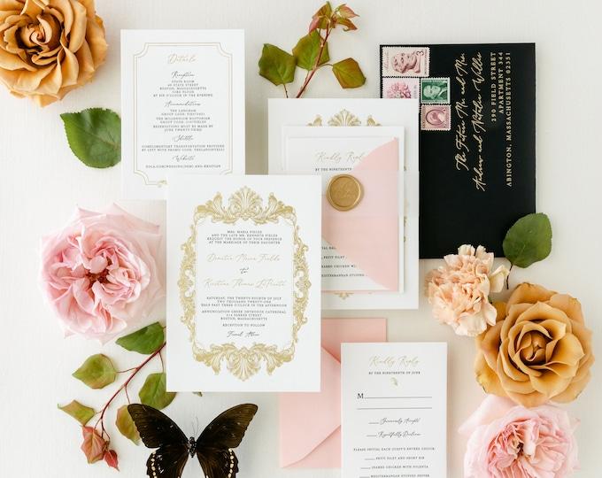 Formal Foil Stamped and Letterpress Wedding Invitation, Vellum Band, Wax Seal, Floral Liner + Addressing in Gold, Black & Pink —More Colors