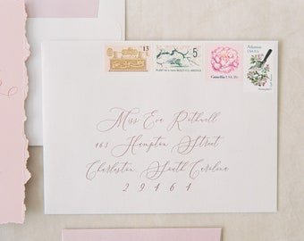 Address Envelope Printing on Metallic White, Romantic Pink Calligraphy, ENVELOPES INCLUDED, Other Colors and Sizes Available