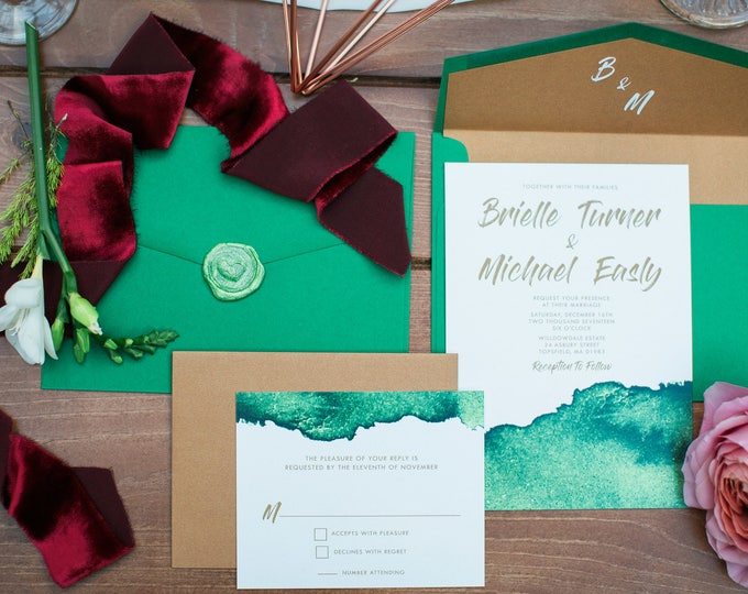 Copper & Green Brush Water Color Wedding Invitation, Wax Seal, Monogram Envelope Liner, RSVP and Address Printing - Different Color Options!