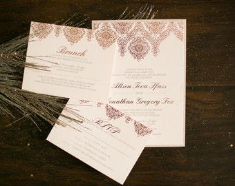 5x7 Two Layer Rose Gold Elegant Luxury Letterpress Foil Wedding Invitation Suite with Insert, RSVP & Envelope