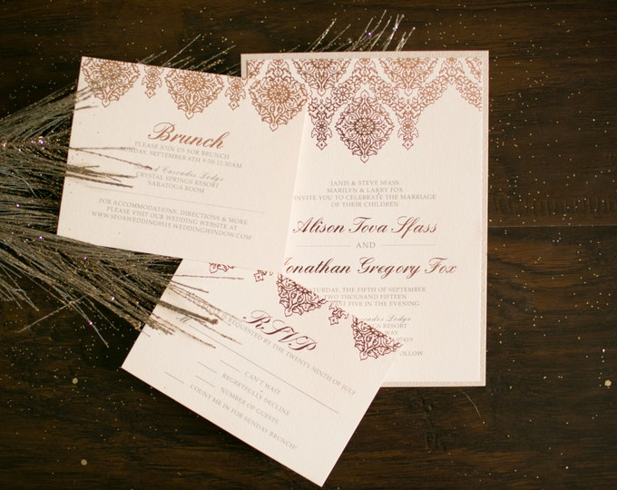 Rose Gold Metallic Foil, Intricate Luxury Wedding Invitation, Pale Pink Blush with Details Insert, RSVP & Envelopes - More Colors Available!