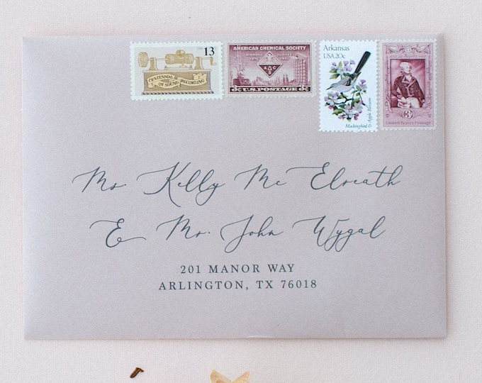 Address Envelope Printing, Formal Script & Block Font in Burgundy and Gray, ENVELOPES INCLUDED, Other Colors and Sizes Available