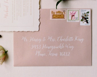 Pretty White Calligraphy on Pink Envelope Address Envelope Printing, ENVELOPES INCLUDED, Other Colors and Sizes Available