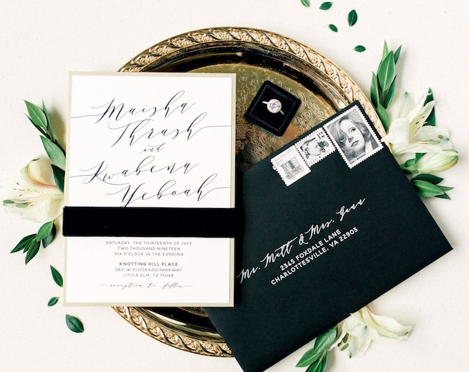 Gold, Black & White Wedding Invitation with Velvet Ribbon, Modern Calligraphy and Addressing - Different Color Options