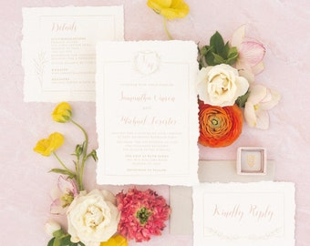Modern Wedding Invitation with Monogram Crest and Calligraphy in Gold, Ivory and Blush Pink  - Envelope Liner & Address Printing