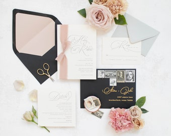 Simple + Clean Minimal Wedding Invitation with Blush Silk Ribbon in Grey, Black & Gold Foil and Modern Calligraphy Script — Different Colors