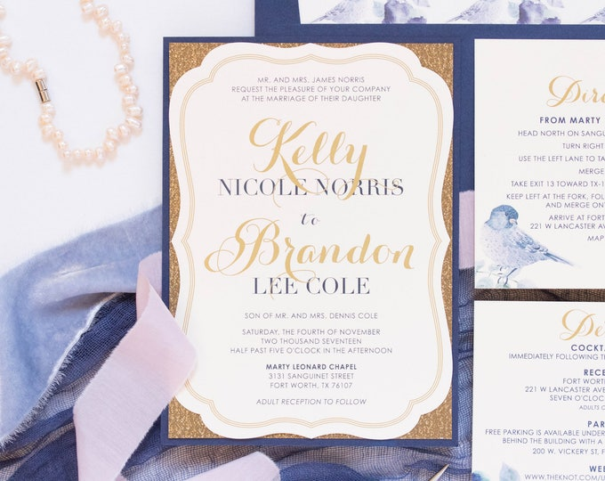 5x7 Navy & Gold Metallic Glitter Silhouette Die Cut Vintage Wedding Invitation with Floral Bird Envelope Liner and Return Address Printing