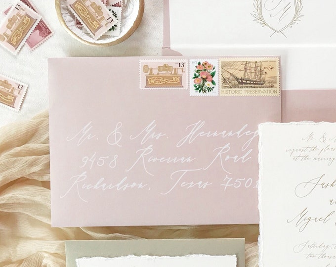 Fine Art Calligraphy in White Ink on Blush Pink, ENVELOPES INCLUDED, Modern Guest Address Envelope Printing, Other Colors Available!