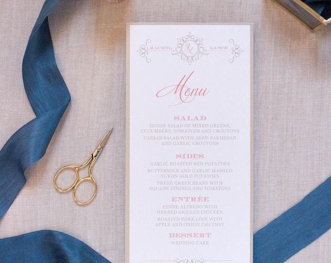 Monogrammed Wedding Menu in Coral, Navy Blue & Gold, Formal Elegant Printed Menu — Other Color Options!