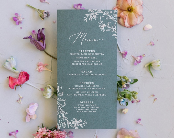 White ink on Slate Blue Line Drawn Floral Wedding Menu with Simple Modern Calligraphy Script — Available in Other Colors!