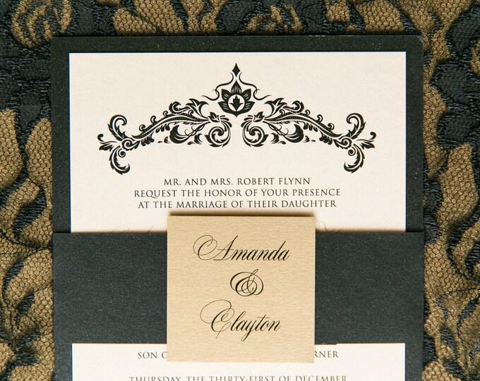 Champagne Gold & Black Elegant Damask Wedding Invitation with Envelope Liner, RSVP, Details and Enclosure Band - Multiple Color Options