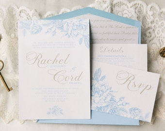 Airy Floral Wedding Invitation in White & Light Blue with Gold Accents, Bible Verse Envelope Liner, Details Insert and RSVP