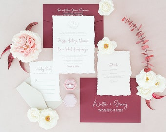Burgundy, Grey & Taupe Wedding Invitation with Delicate Line Floral Monogram Wreath, Torn Edges and Guest Address —Other Colors Available