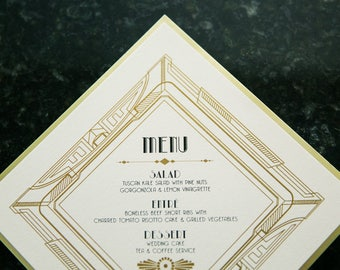 Glam Great Gatsby, Art Deco, Art Nouveau, Roaring 20's Printed Wedding Menu in Black and Metallic Gold - Other Colors Available!