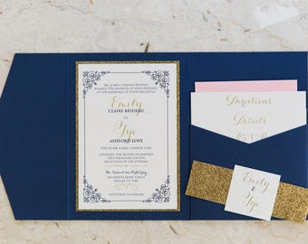 5x7 Navy Blue, Gold Glitter & Blush Pocket Wedding Invitation with Enclosure Band, Monogram and Inserts. Different Colors Options