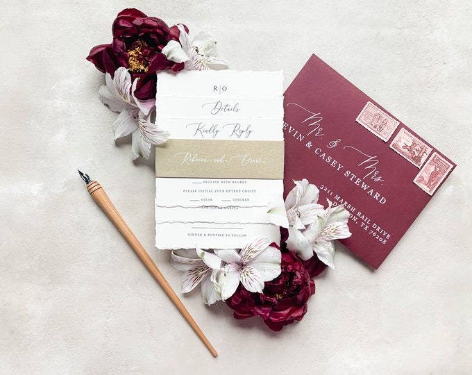 Simple Navy, Burgundy and Gold Wedding Invitation with Modern Script Calligraphy, RSVP, and Address Printing - Other Colors Available