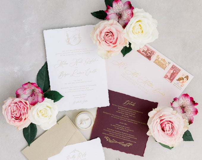 Deckled Edge Modern Calligraphy FLoral Crest Wedding Invitation in Gold, Burgundy and Pale Pink with Envelope Liner, RSVP & Address Printing