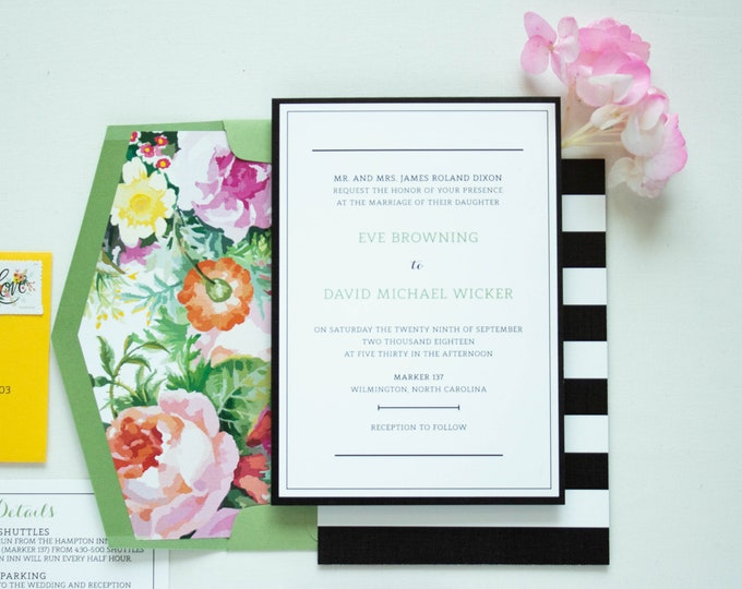 Minimalist Bold Black & White Striped, Typographic Wedding Invitation Bright Florals in Pink, Purple and Yellow m Liner - Other Colors