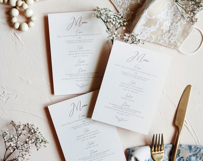 Blush & Pale Pink Floral Wedding Menu with Simple Modern Calligraphy Script — Available in Other Colors!
