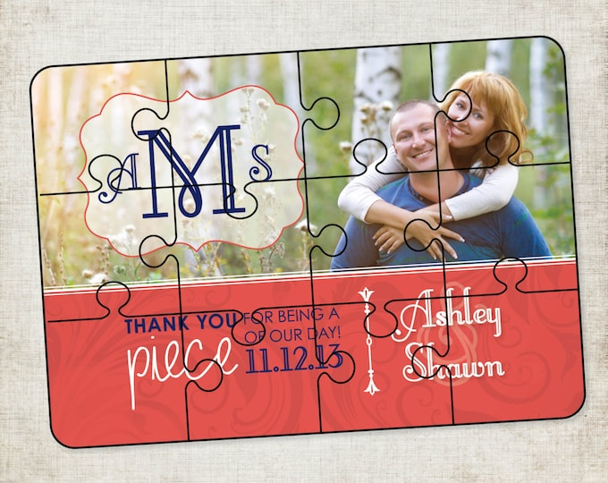 5x7 12 Piece Puzzle Wedding Favor or Save the Date