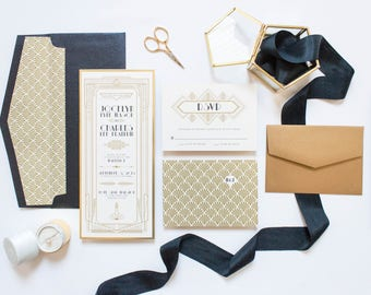 SAMPLE Art Deco Wedding Invitation with Great Gatsby Theme in Gold and Black, Featuring Art Nouveau Style Envelope & RSVP