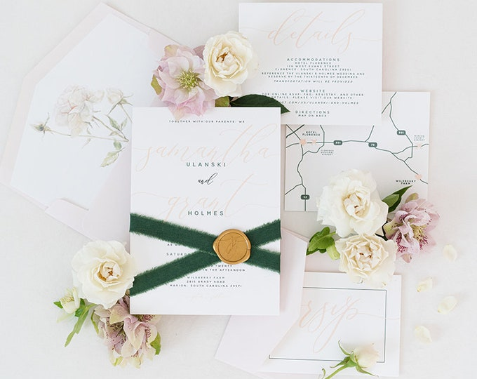 Simple Blush Pink Wedding Invitation, Water Color Floral in Liner, Green Ribbon and Gold Wax Seal, Custom Map & Addressing - Other Colors