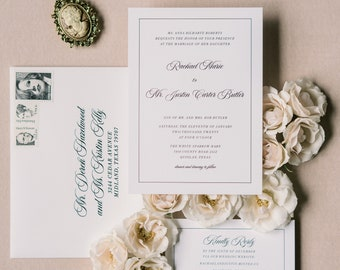 Modern and Simple Black and White Wedding Invitation with Clean, Uncluttered Design with Guest Addressing —Available in any Color Scheme