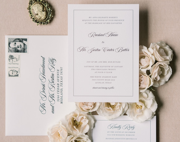 Modern and Simple Black and White Wedding Invitation with Clean, Uncluttered Design with Guest Addressing — Available in any Color Scheme